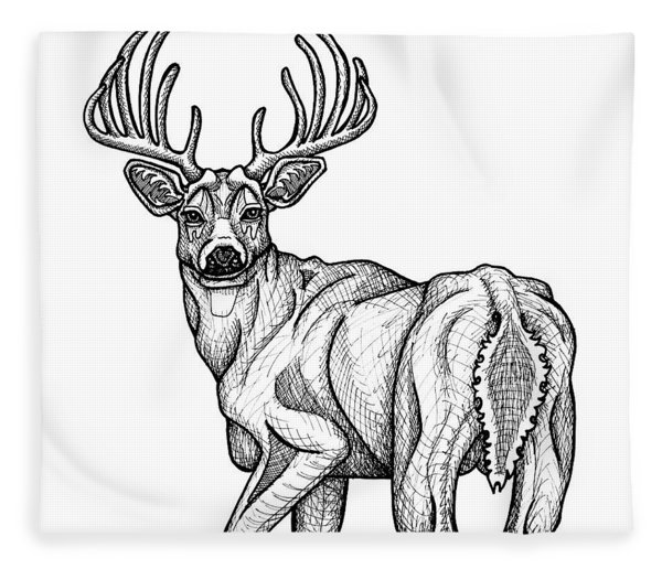 Fleece Blanket featuring the drawing White Tailed Buck by Amy E Fraser
