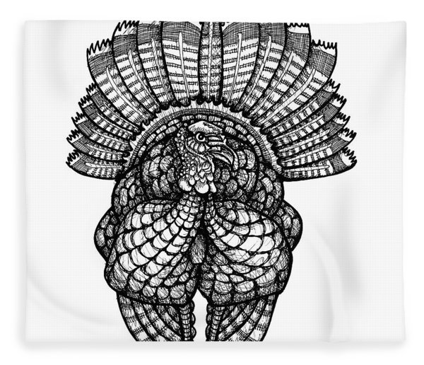 Fleece Blanket featuring the drawing Wild Turkey by Amy E Fraser