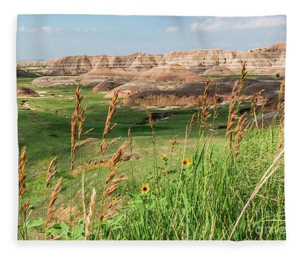 Wildflowers In The Badlands Fleece Blanket