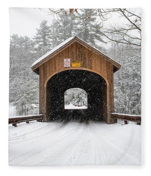 Winter At Babb's Bridge Fleece Blanket