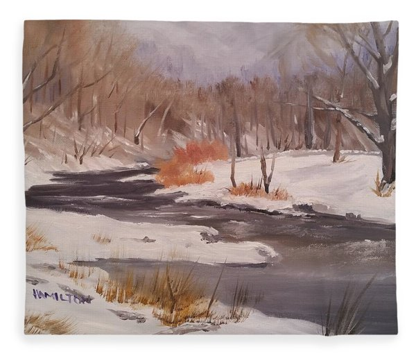 Winter Stream Fleece Blanket