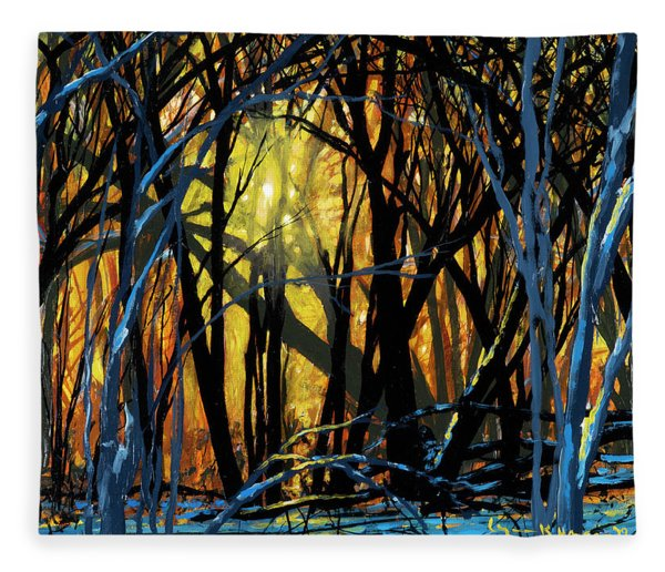 Winter Sunset In The Forest Fleece Blanket