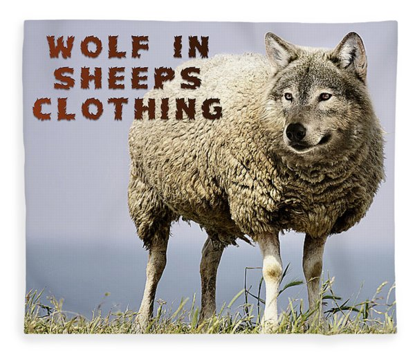 Fleece Blanket featuring the digital art Wolf In Sheeps Clothing by ISAW Company