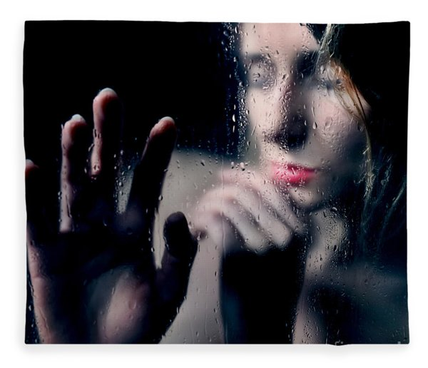 Woman Portrait Behind Glass With Rain Drops Fleece Blanket