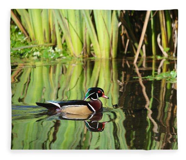 Wood Duck Reflection 1 Fleece Blanket