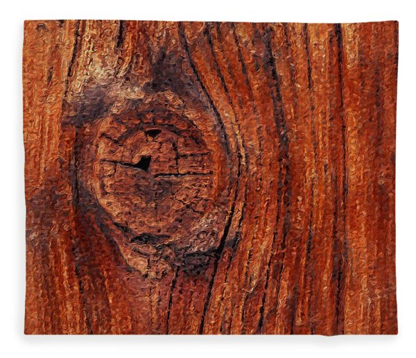 Fleece Blanket featuring the digital art Wood Knot by ISAW Company