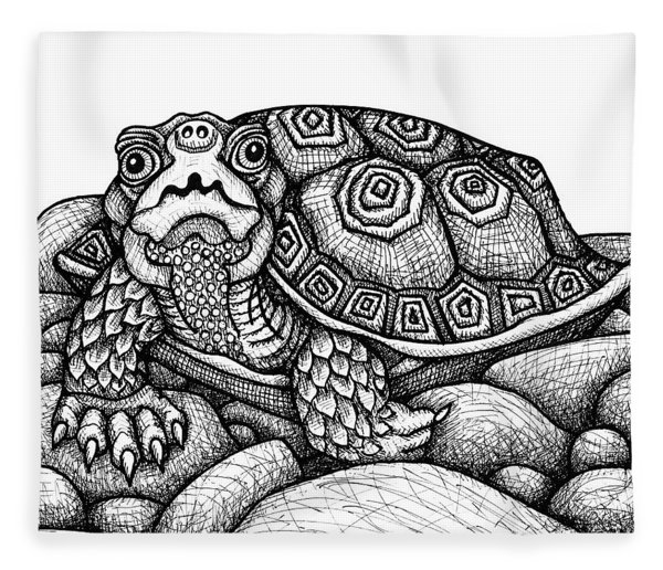 Fleece Blanket featuring the drawing Wood Turtle by Amy E Fraser