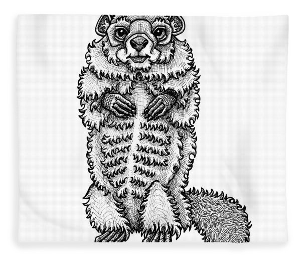 Fleece Blanket featuring the drawing Woodchuck by Amy E Fraser