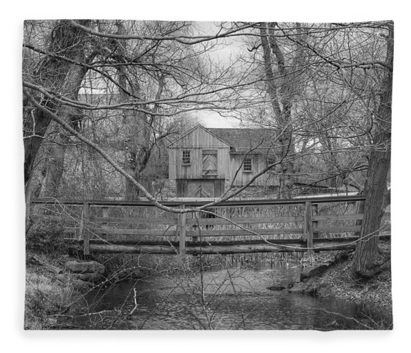 Wooden Bridge Over Stream - Waterloo Village Fleece Blanket