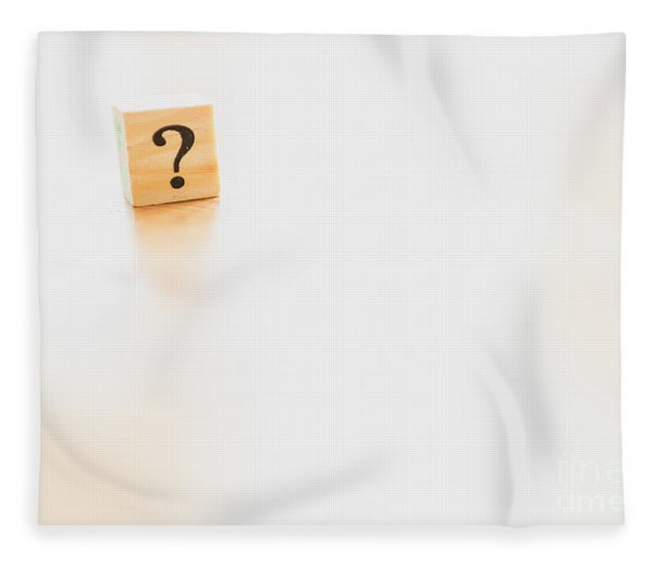 Wooden Dice With Question Mark And Doubt. Fleece Blanket