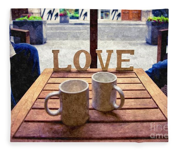 Word Love Next To Two Cups Of Coffee On A Table In A Cafeteria,  Fleece Blanket