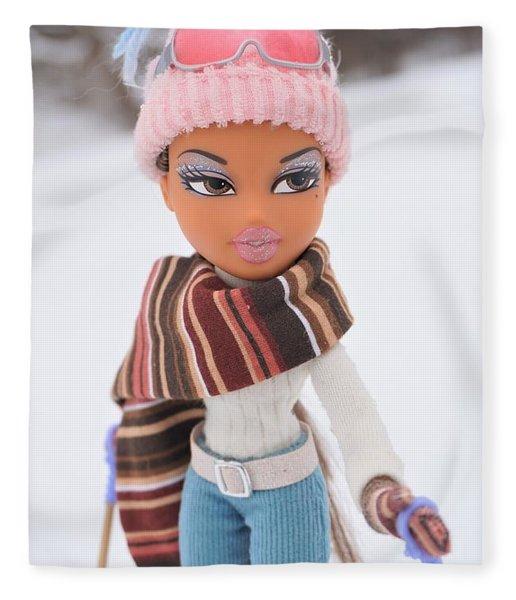 Yasmin In The Snow Fleece Blanket