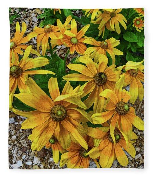 Yellow In Bloom Fleece Blanket