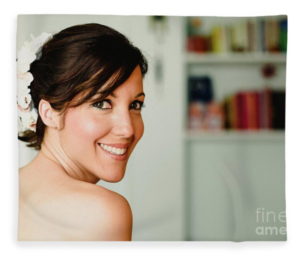 Young Woman From Behind Smiling Fleece Blanket