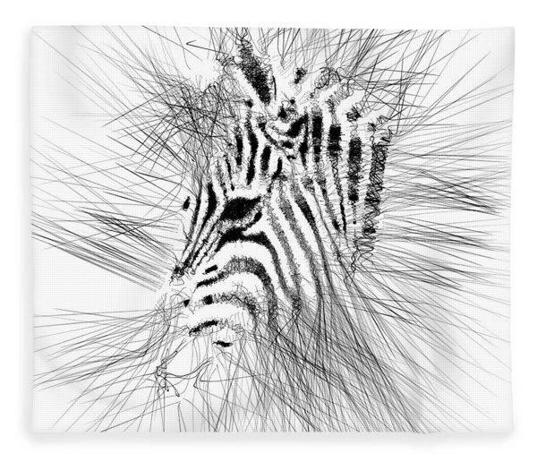 Fleece Blanket featuring the digital art Zebrart by ISAW Company