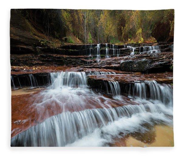 Zion Trail Waterfall Fleece Blanket