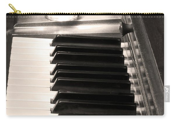 A Shot Of Bourbon Whiskey And The Bw Piano Ivory Keys In Sepia Carry-all Pouch