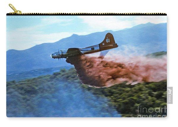 Carry-all Pouch featuring the photograph  B-17 Air Tanker Dropping Fire Retardant by Bill Gabbert