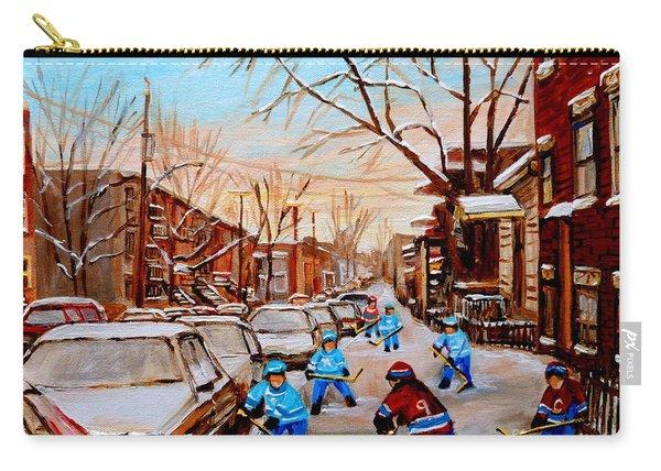 Hockey Art- Verdun Street Scene - Paintings Of Montreal Carry-all Pouch