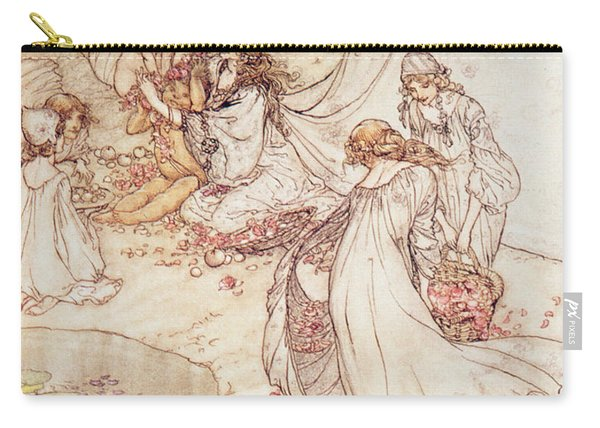 Illustration For A Fairy Tale Fairy Queen Covering A Child With Blossom Carry-all Pouch