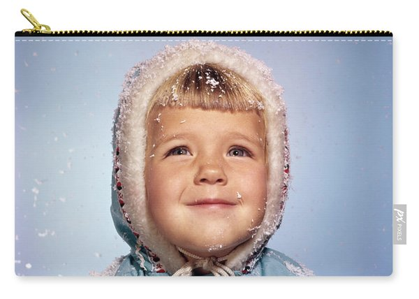 1960s Little Girl Holding Snow Ball Carry-all Pouch