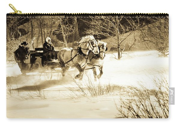 A Sleigh Is Pulled By Two Black Horses Carry-all Pouch