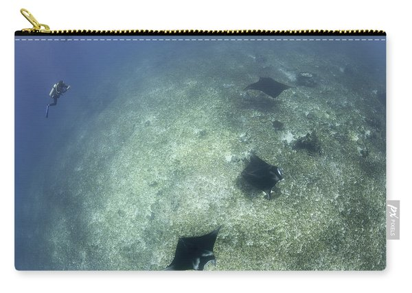 A Trio Of Reef Manta Rays Swimming Carry-all Pouch