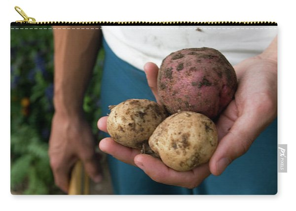 A Young Woman Digs Heirloom Potatos Carry-all Pouch