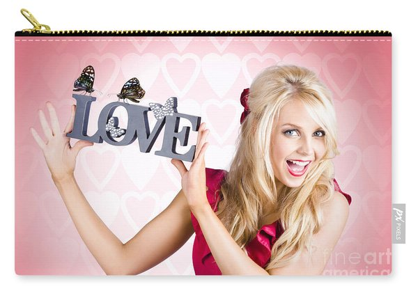 Affectionate Blonde Woman With Love Butterflies Carry-all Pouch
