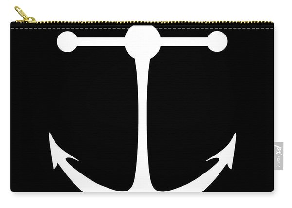 Anchor In Black And White Carry-all Pouch