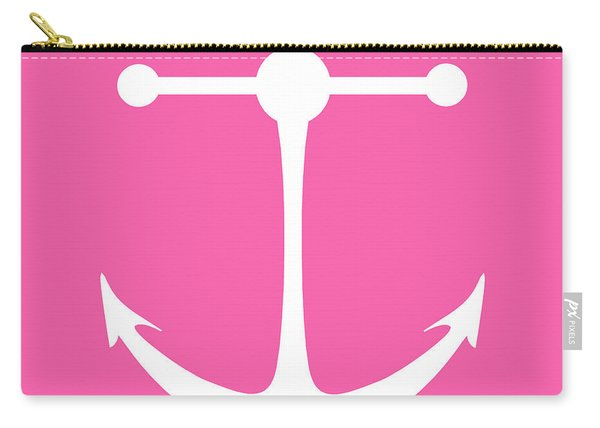Anchor In Pink And White Carry-all Pouch
