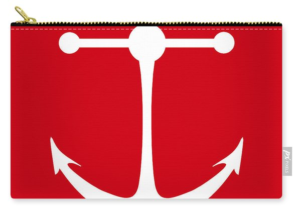Anchor In Red And White Carry-all Pouch