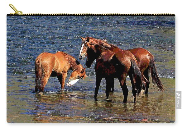 Arizona Wild Horses On The Salt River Carry-all Pouch