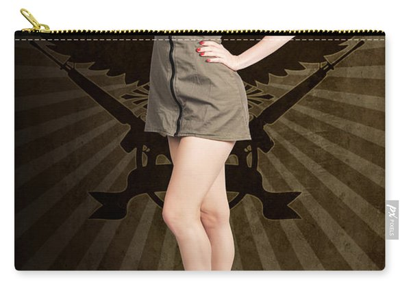 Attractive Blond Pin-up Army Girl. Military Salute Carry-all Pouch