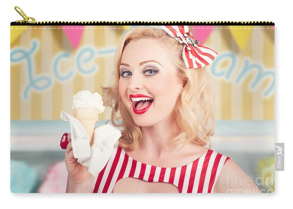 Attractive Retro Pinup Girl Eating Ice Cream Cone Carry-all Pouch