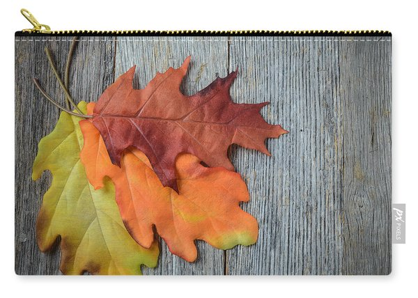 Autumn Leaves On Rustic Wooden Background Carry-all Pouch