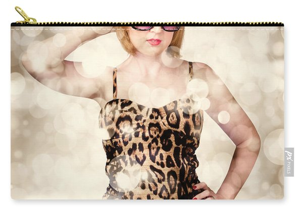 Beautiful Hair Style Girl In Retro Beauty Fashion Carry-all Pouch