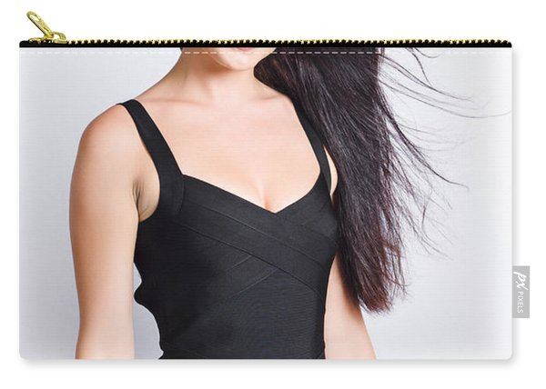 Beautiful Model With Long Straight Brunette Hair Carry-all Pouch
