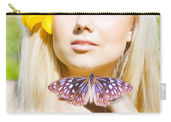Beautiful Natural Blonde With Butterfly Carry-all Pouch