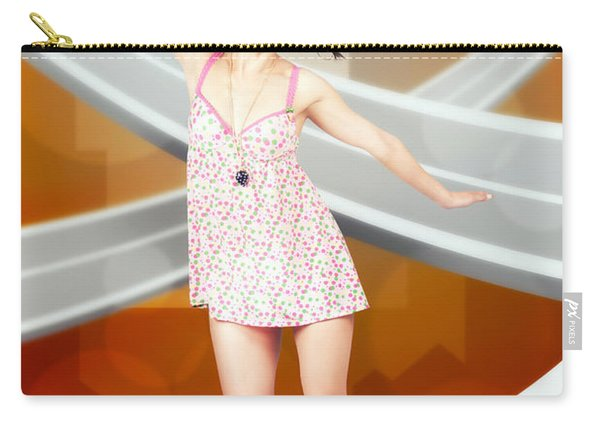 Beautiful Smiling Skater Woman. City Skateboarding Carry-all Pouch