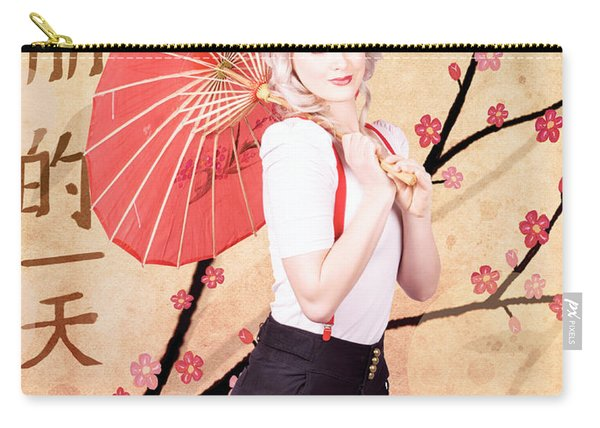 Beautiful Woman Celebrating The Chinese New Year Carry-all Pouch