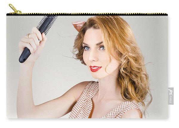Beautiful Woman With Red Hair. Beauty Salon Model Carry-all Pouch