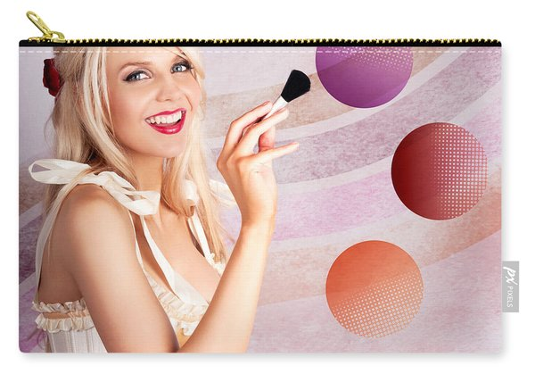 Beauty Woman Using Rouge Blush Color Pallet Carry-all Pouch