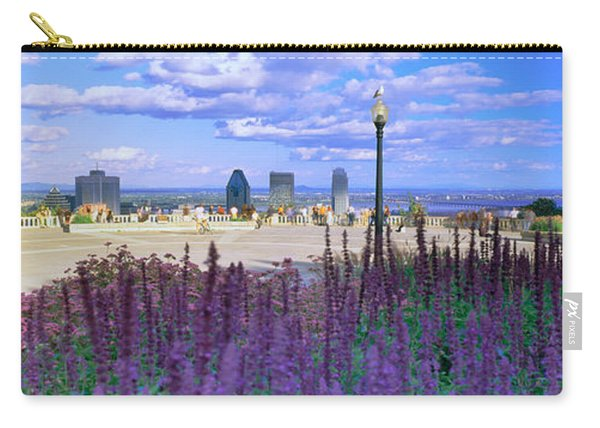 Blooming Flowers With City Skyline Carry-all Pouch