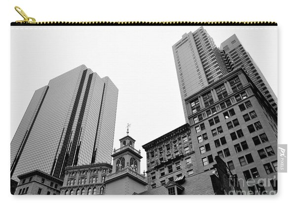 Boston Cityscape Black And White Carry-all Pouch