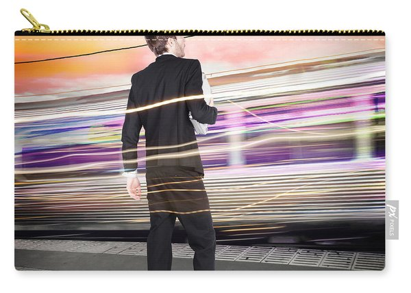 Business Man At Train Station Railway Platform Carry-all Pouch