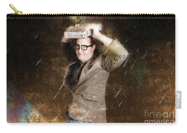 Business Man In Bad Weather Storm. Crisis Concept Carry-all Pouch