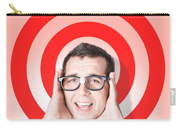 Business Man In Fear On Target Background Carry-all Pouch