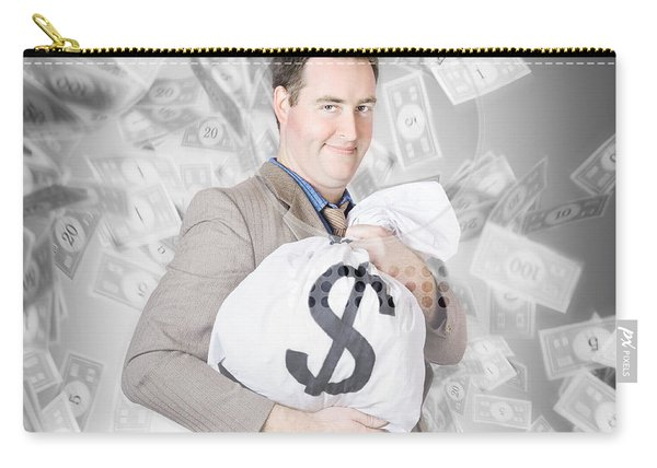 Business Person With Money Sack. Financial Success Carry-all Pouch