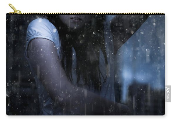 Business Woman Caught In Rain And Bad Weather Carry-all Pouch